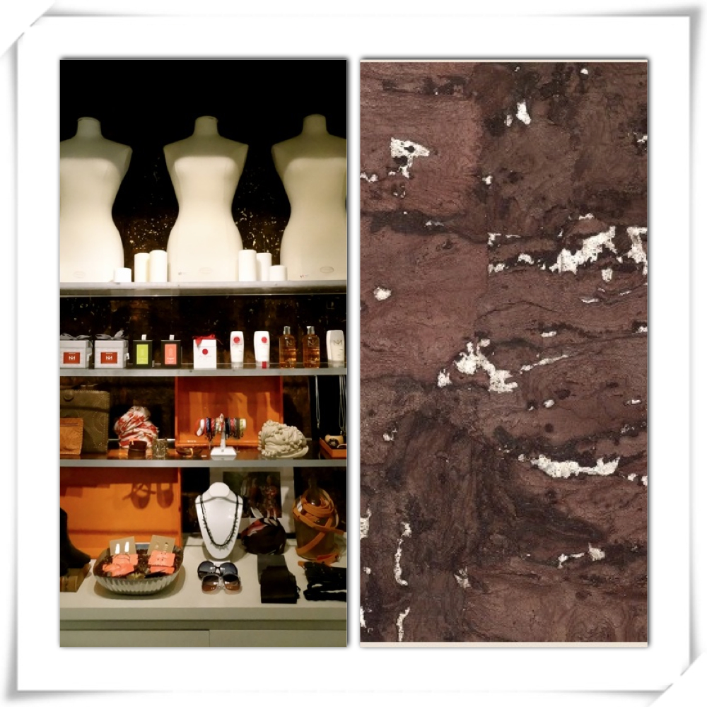 We still LOVE the cork wallcovering behind these shelves, even though that isn't a recent update