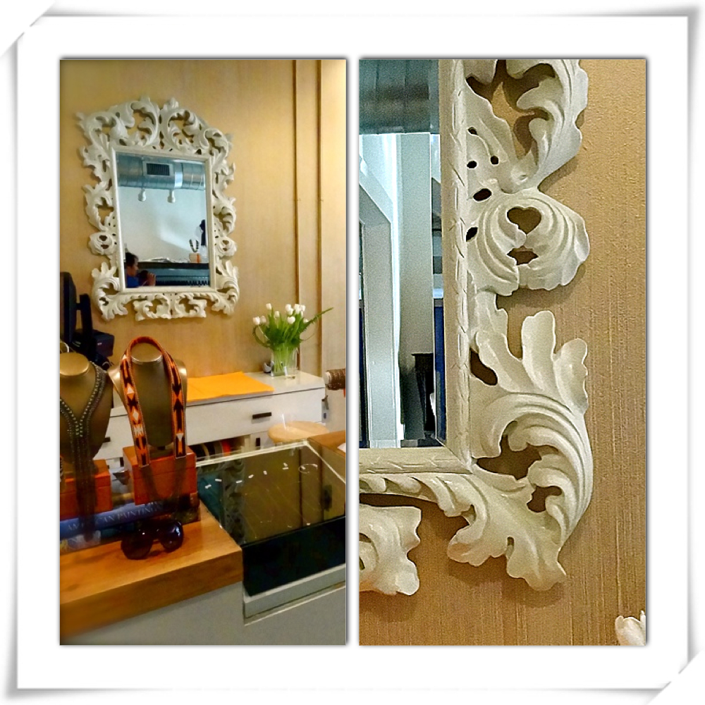 The new finish on the mirror (which was originally a natural wood) looks perfect.
