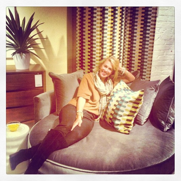 Elizabeth getting cozy at the MGBW showroom!