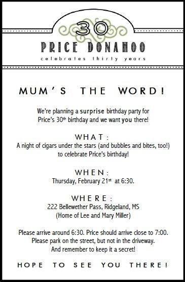 SURPRISE 30TH BIRTHDAY invitation
