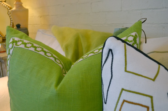 Gorgeous Greens: Pillows and throw
