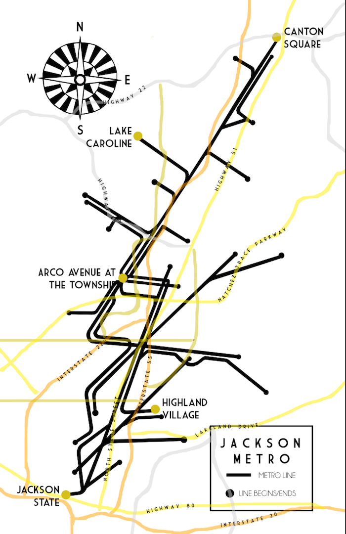 Jackson Metro map (If Jackson, MS were to have a subway) by The Lovely Bee for Arco Avenue